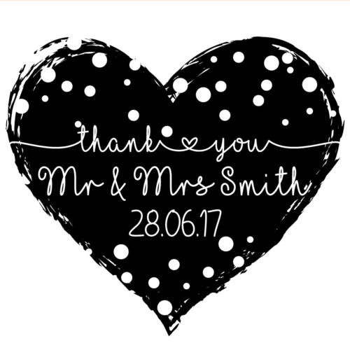 Dotty Heart Wedding Thank You Personalised Laser Rubber Stamp