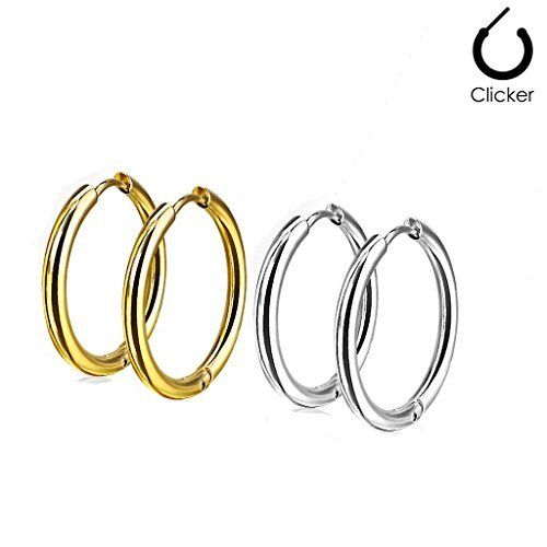 Hinged Clicker THIN 316L 1 Pair Earrings Hoop Plain Stainless Surgical Steel