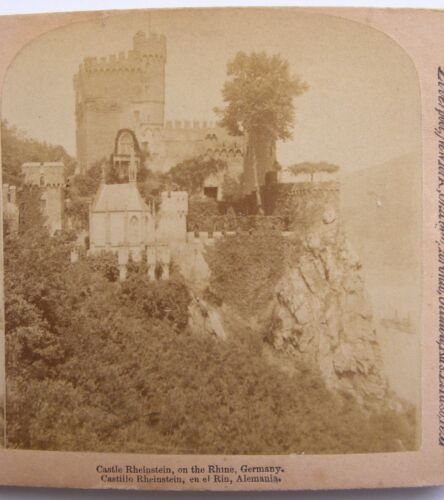 1894 Castle Rheinstein Rhine River Germany Antique Real Photo Stereoview Card