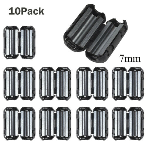 10PcsBlack Clip On Clamp RFI EMI Noise Filters Ferrite Core For 5//7//9//13mm Cable