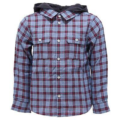 9633z Camicia Bimbo Boy Emporio Armani Detachable Hood Light Blue/blue Shirt