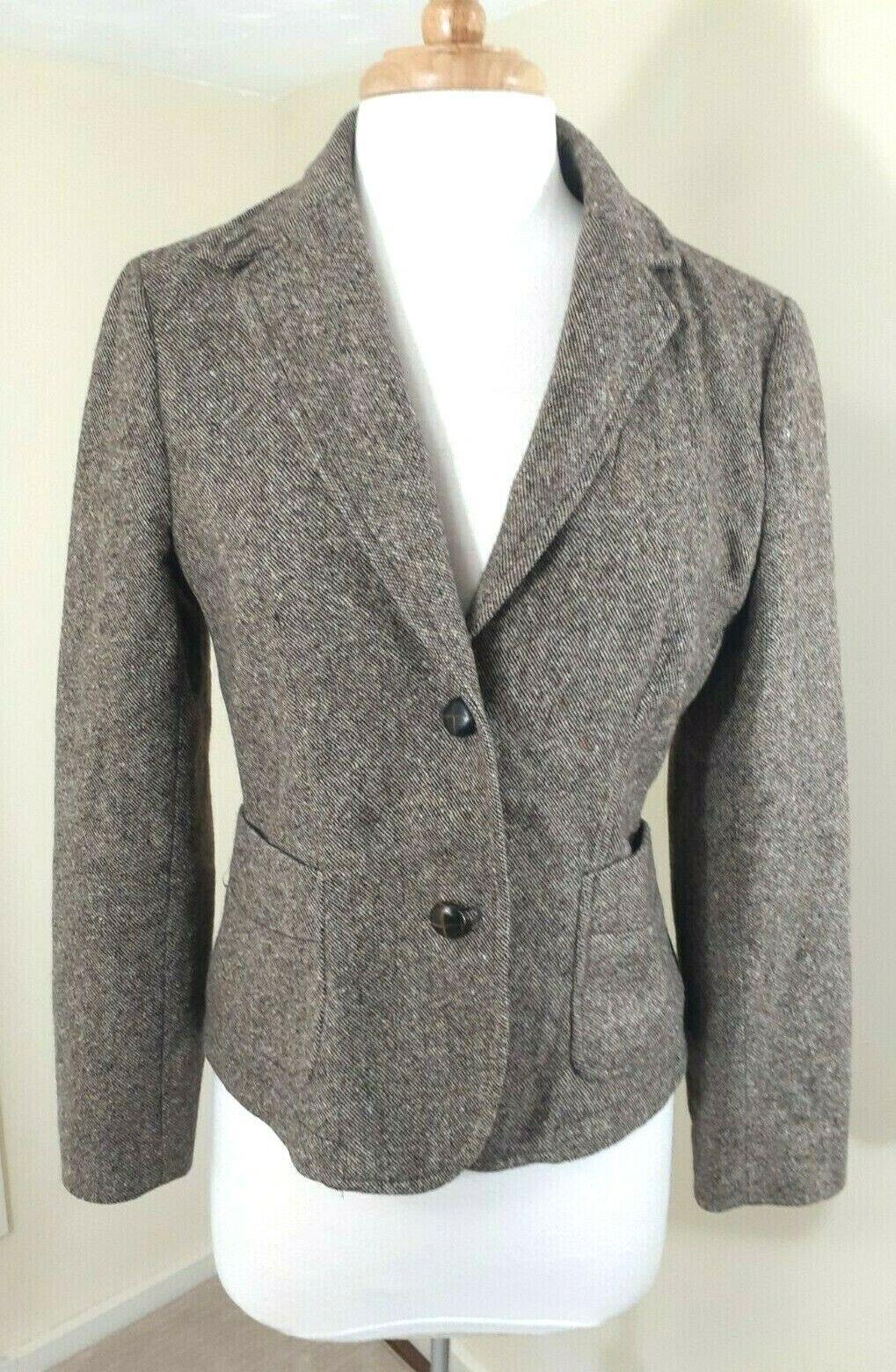 BANANA REPUBLIC Brown Tweed Wool Blend Blazer Jacket Button Front Women's Sz 4/6