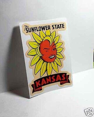 KANSAS Sunflower State Vintage Style Travel Decal, Vinyl Sticker, luggage label
