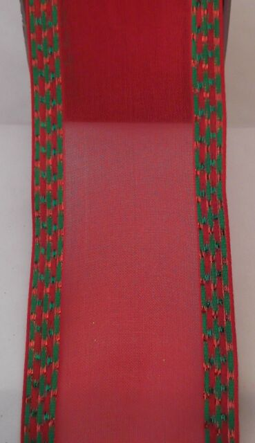 """5 YARDS REDS SHEER W/METALLIC SIDES 2 1/2"""" WIRE RIBBON XMASCRAFTS,BOWS"""