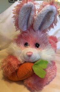 DanDee-Collectors-Pink-White-Bunny-Carrot-Plush-Stuffed-Vintage-Easter-Spring