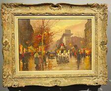 Charles Vignon c.1950's oil painting Paris France Parisian street scene