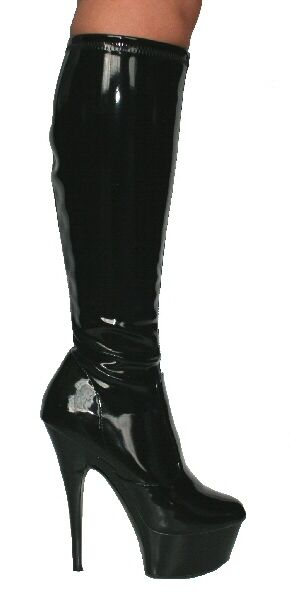 Epinklla Angie 01 Sexy Epinklla Soft Stretch Knee High Boots Black Patent
