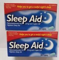 2 Sleep Aid Diphenhydramine 25mg Sleeping Pills Caplets 36 Ct Each Expire 06/17