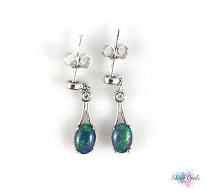 Australian-Genuine-Opal-Earrings-7x5mm-w-CZ-925-Sterling-Silver-Dangle-Drop