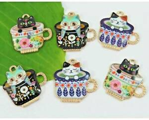 10-Tasse-a-the-Kitten-Cat-Charms-colore-plaque-or-email-Mixte-Charm-Set-mignon