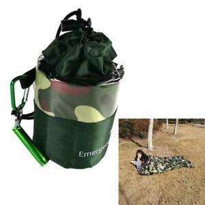 Camouflage-wasserdichter-wiederverwendbarer-Notschlafsack-Survival-Camping-S3J1