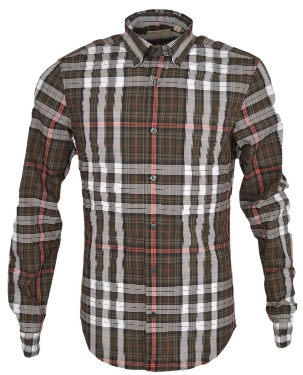 7f6ee0f449f2 Burberry Brit Men s Fred Khaki Nova Check Cotton Long Sleeve Shirt Small  for sale online