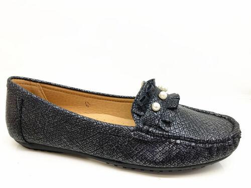 Nouveau Femmes Lady Dolly Perles vernissées Métallique Escarpins à Enfiler Plates Bateau Mocassins Chaussures