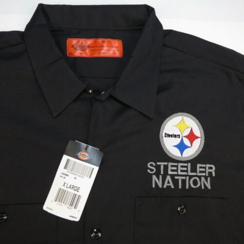 NEW NWT DICKIES Pittsburgh Steelers STEELER NATION FOOTBALL WORK SHIRT Mens XL
