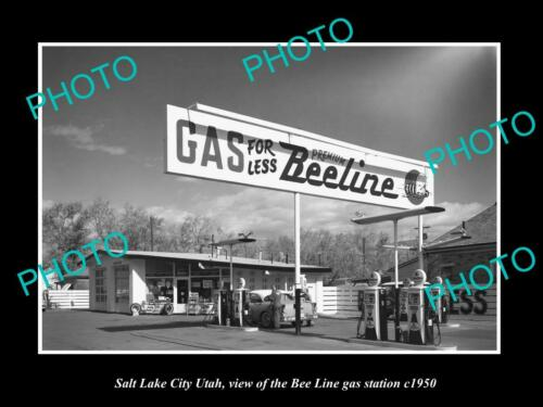 OLD 6 X 4 HISTORIC PHOTO OF SALT LAKE CITY UTAH, THE BEELINE GAS STATION c1950