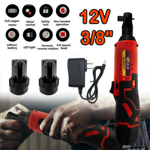 12V 3//8'' 32NM Portable Cordless Electric Ratchet Wrench Rattle Nut Gun+Battery