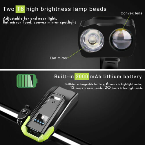Horn USB Rechargeable LED Bicycle Headlight Bike Head Light Front Lamp Cycling
