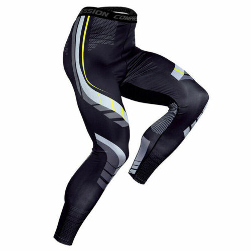 Men/'s Compression Long Pants Cool Dry Printed Active Running Workout  Base Layer