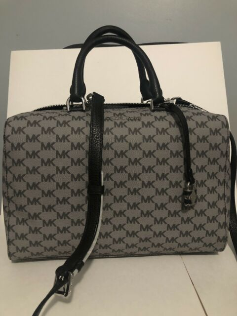 27bc583943a6 NWT Michael Kors Kirby Signature MK Large Satchel Bag Handbag Black Silver  New