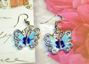 LOVELY-SILVER-ENAMEL-RHINESTONE-BUTTERFLY-EARRINGS-1-3-4-INCHES-LONG
