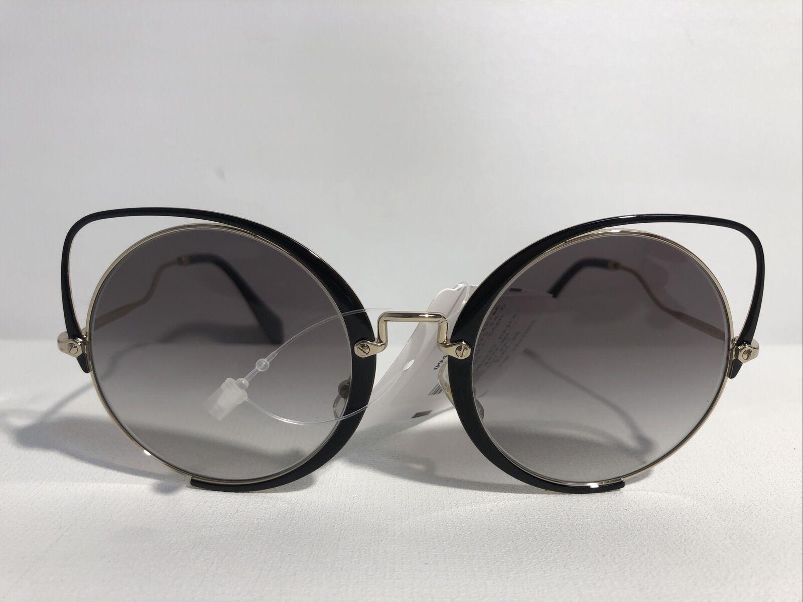 NEW MIU MIU Sunglasses SMU 51T Black/Gold 1AB-0A7 Round Cat Eye