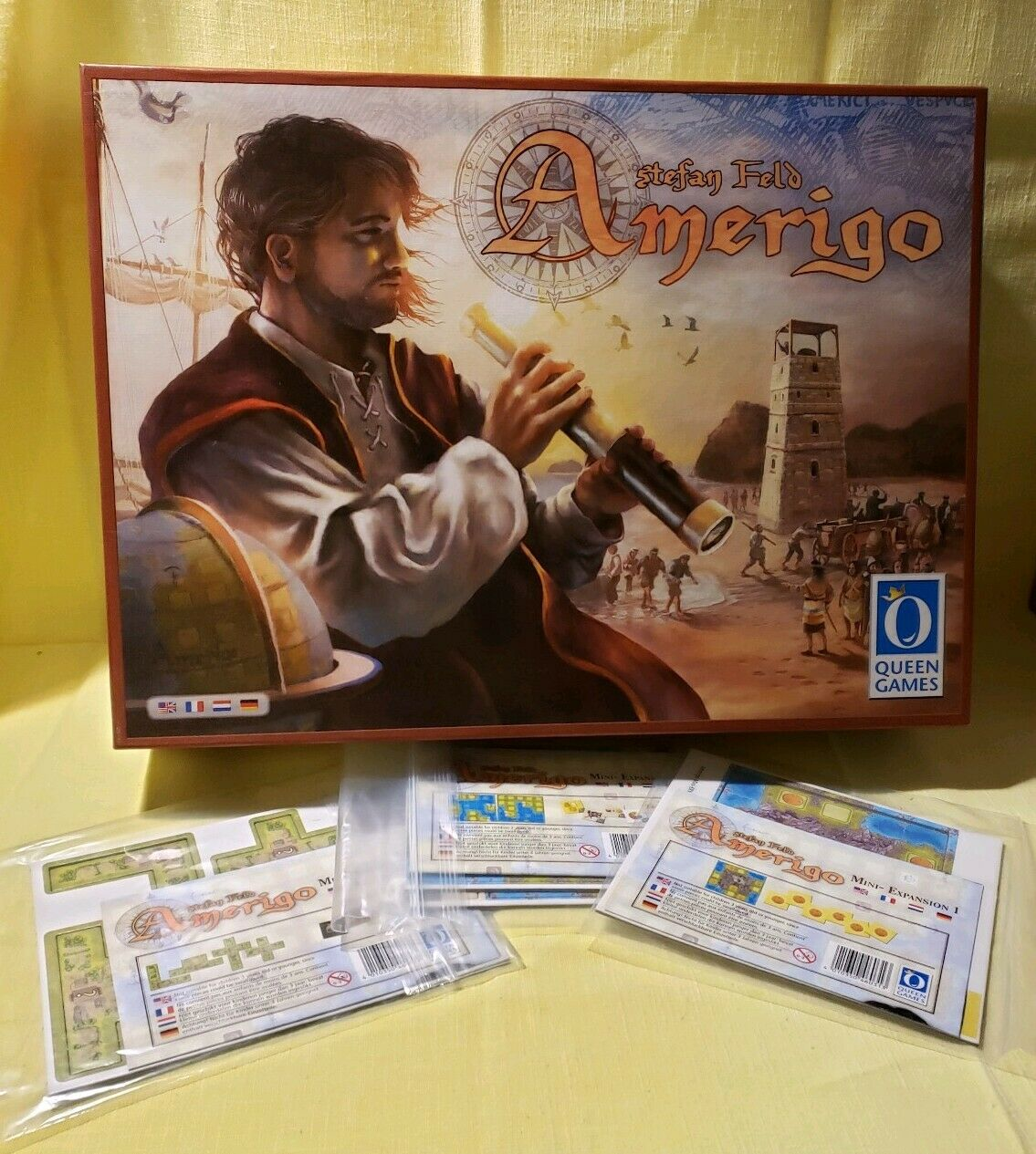 AMERIGO + 3 QUEENIES = ALL 3 Mini Expansions Boardgame QUEEN Games Stephan Feld