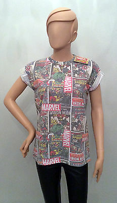Ladies MARVEL Avengers COMIC BOOK COVERS T shirt from PRIMARK
