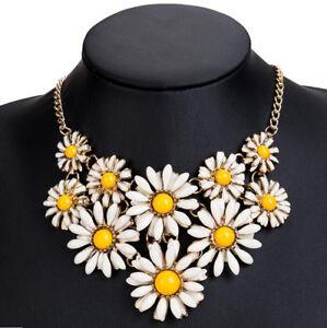 Women-Crystal-Flower-Necklace-Statement-Bib-Choker-Chunky-Collar-Pendant-Jewelry