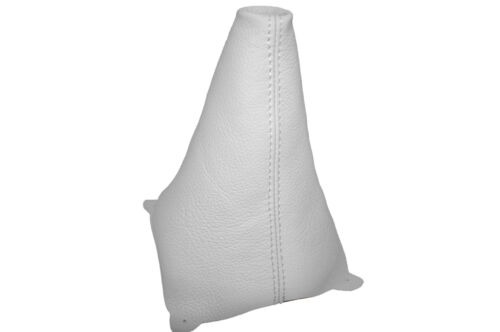 WHITE LEATHER FITS FORD FIESTA MK7  2008-2013 GEAR GAITER DOUBLE STITCHED