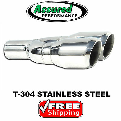 """T304 Stainless Steel Double Wall Exhaust Tip 2.25/""""ID 4/""""OD Slanted Beveled Outlet"""