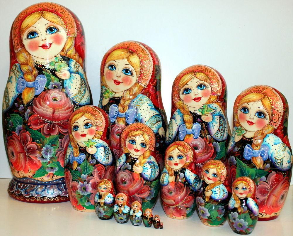 Muñeca Rusa 15 piezas arte hermoso arte pintado a mano 100% mejor muñeca
