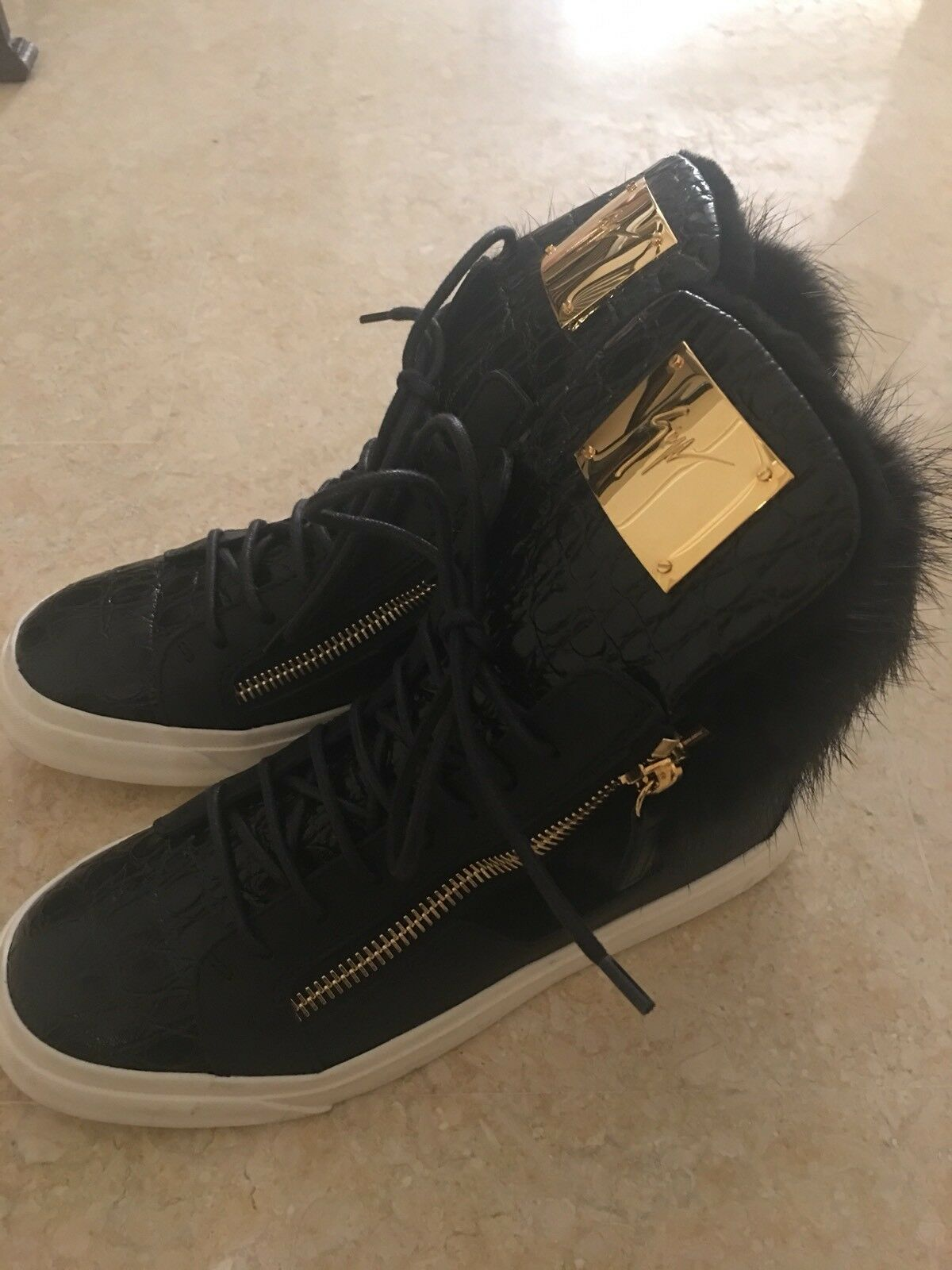 GIUSEPPE ZBNOTTI Leather Trainers Sneakers Shoes with Real Fur and Zips 38 UK 5