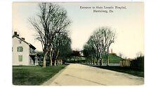 Harrisburg PA -ENTRANCE TO STATE LUNATIC HOSPITAL- Handcolored Postcard
