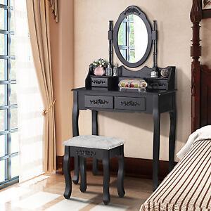 La foto se está cargando Vanity-Makeup-Table-Dressing-Desk-Set-with-Stool- & Detalles acerca de Vanity Makeup Table Dressing Desk Set with Stool 4 Drawers and Mirror Black