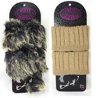 Steve Madden Women's Fashion Faux Fur Boot Cuffs W/ Pom Pom Or Tan Thermal