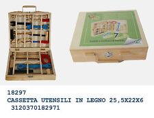 regalo gioco bimbo cassetta degli attrezzi in legno con 12 utensili