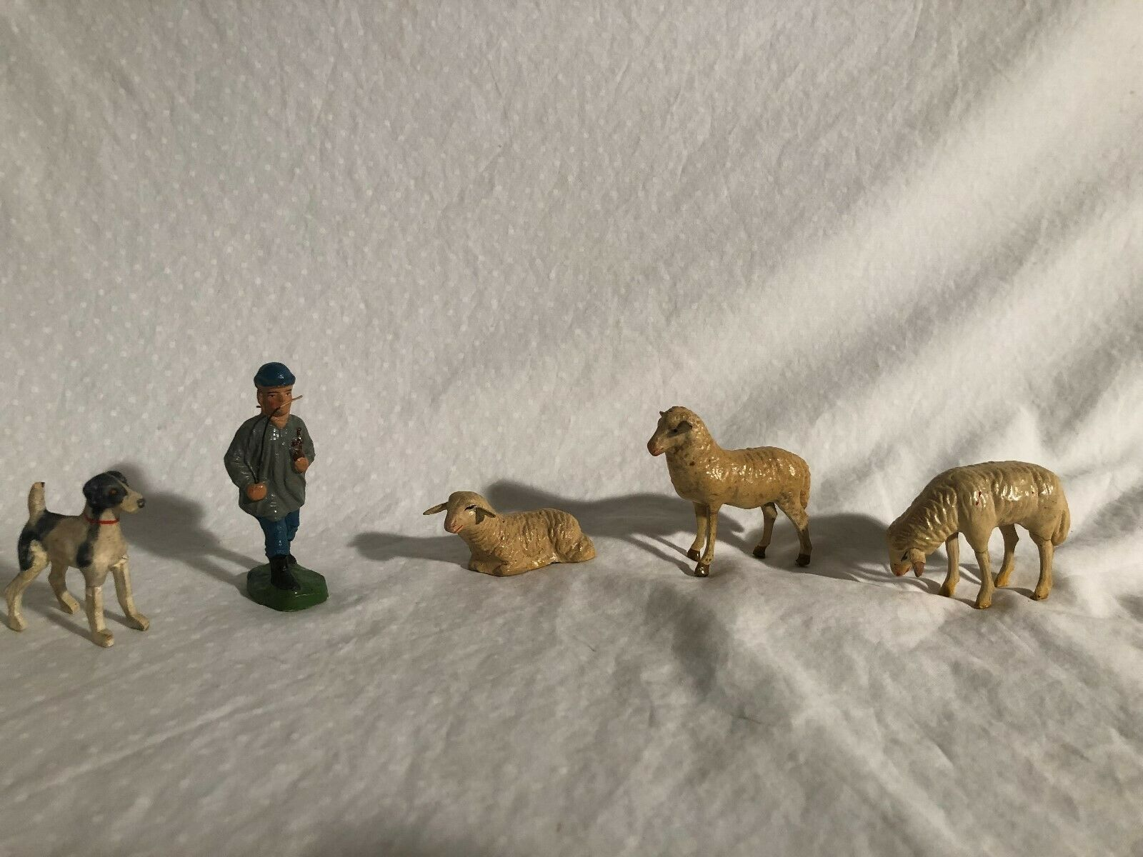 Vintage Composition Figures Germany Circa 1930s Tipple Topple Elastolin Sheep