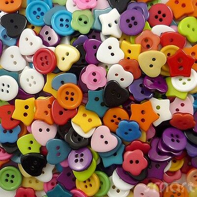 100pcs Bulk Assorted Shape Resin Sewing Button Lots Craft Cards Embellish DIY