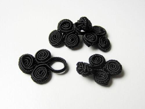 1 kleiner edler schwarzer Posamenten Verschluss mit Spiralen 1236sc-19x36