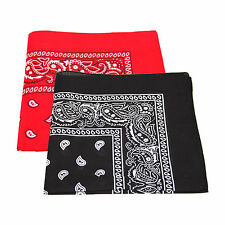 2 x Paisley Pattern Bandana Head / Neck Scarf 100% Cotton (Black & Red)