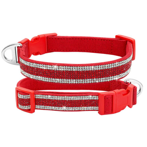 Dog Cat Pets Multicolor Safety Collar Rhinestone Crystal Leather Collar S M L