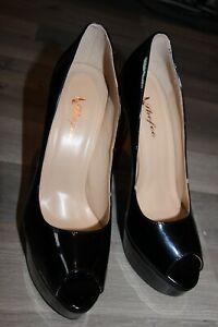 SHOFOO Chaussures ouvertes noires à talon aiguille 15 cm plateforme 3.5 cm T 41