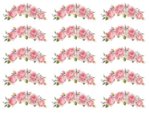 Shabby Pink Roses Swags Flowers Furniture Transfers Waterslide Decals FL550