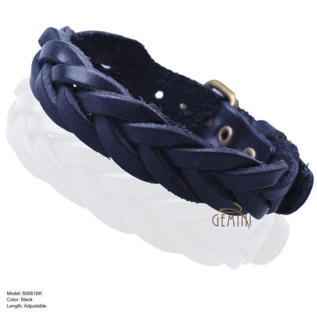 Men Boys Blue Braided Genuine leather bracelet cuff Wristband MKUS081BL