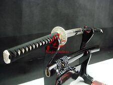 "30""Clay tempered folded steel blade jp wakizashi katana sword silver tsuba sharp"