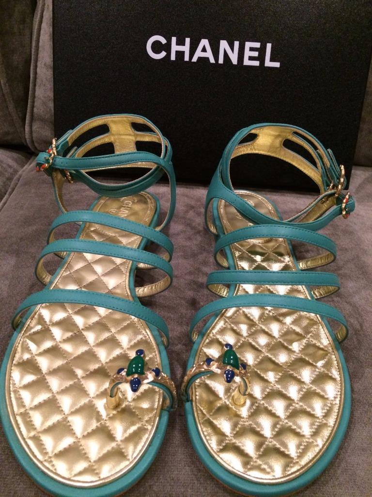 Channail  verde Leather Jewel Toe Ring Strappy Flat Sandals scarpe  1250  migliore vendita