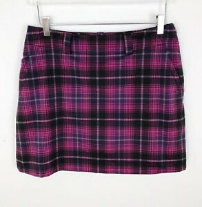 Nike-Gold-Pink-Plaid-Mini-Skort-Skirt-Shorts-Medium-Pockets-Tennis-Athletic