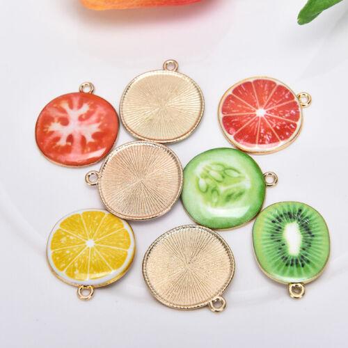 10Pcs//set Enamel Alloy Fruit Vegetable Charms Pendant Craft DIY Making JewelP sk