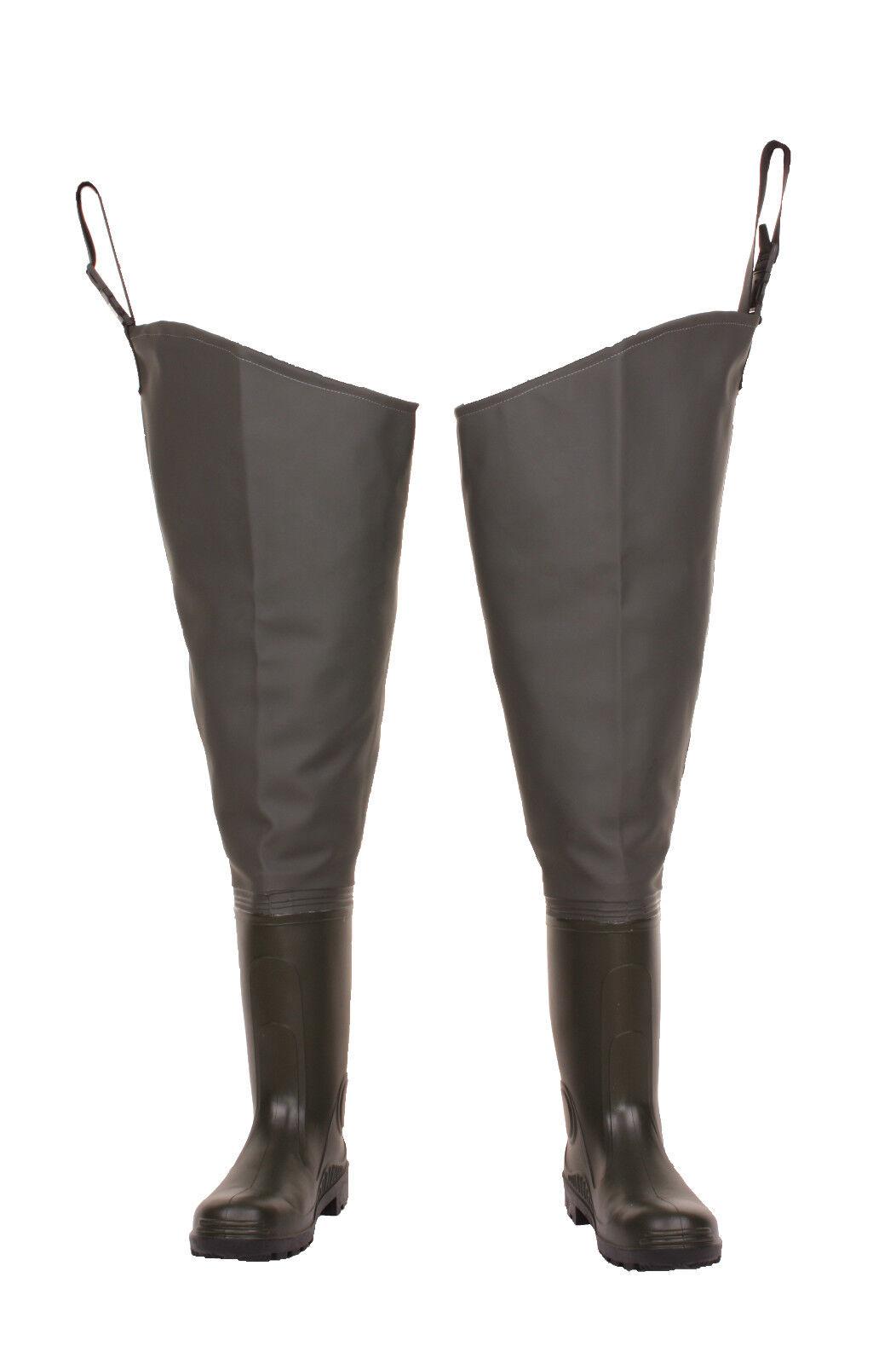 Green THIGH Waders LEMIGO  Standard  PVC HIP boots  7-12 EU
