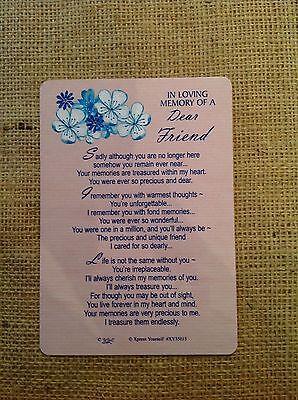 MEMORIAL SENTIMENT FRIEND GRAVE CARD PLAQUE VERSE